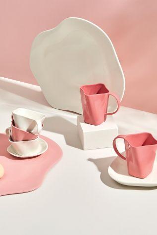 Kütahya Porselen Skallop 4 Parça Çay Seti Pembe - Thumbnail (1)