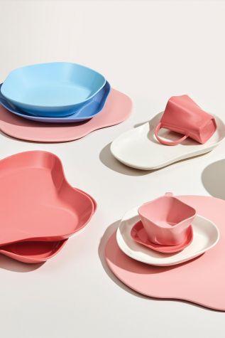 Kütahya Porselen Skallop 4 Parça Çay Seti Pembe - Thumbnail (2)