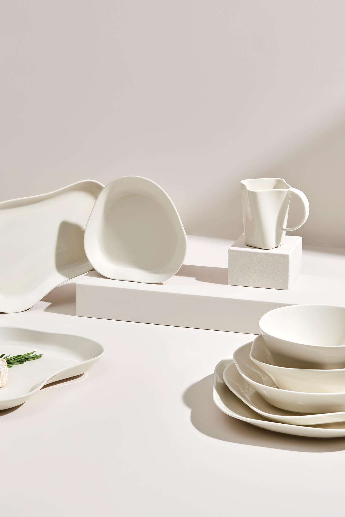 Kütahya Porselen Skallop 4′lü 9 cm Meze Seti Krem