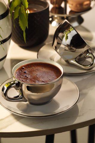 Kütahya Porselen - Kütahya Porselen Stella Double Kahve Takımı Platin Kaplama