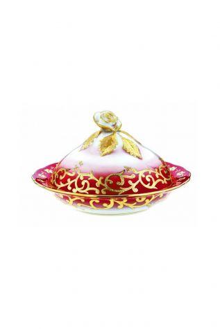 Kütahya Porselen - Kütahya Porselen Sultan Şekerlik 20 cm Dekor No:3678 Kırmızı