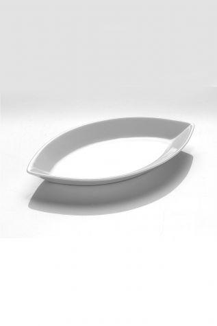 Kütahya Porselen Tavola Serisi 32 cm Yaprak Kayık Tabak - Thumbnail (1)