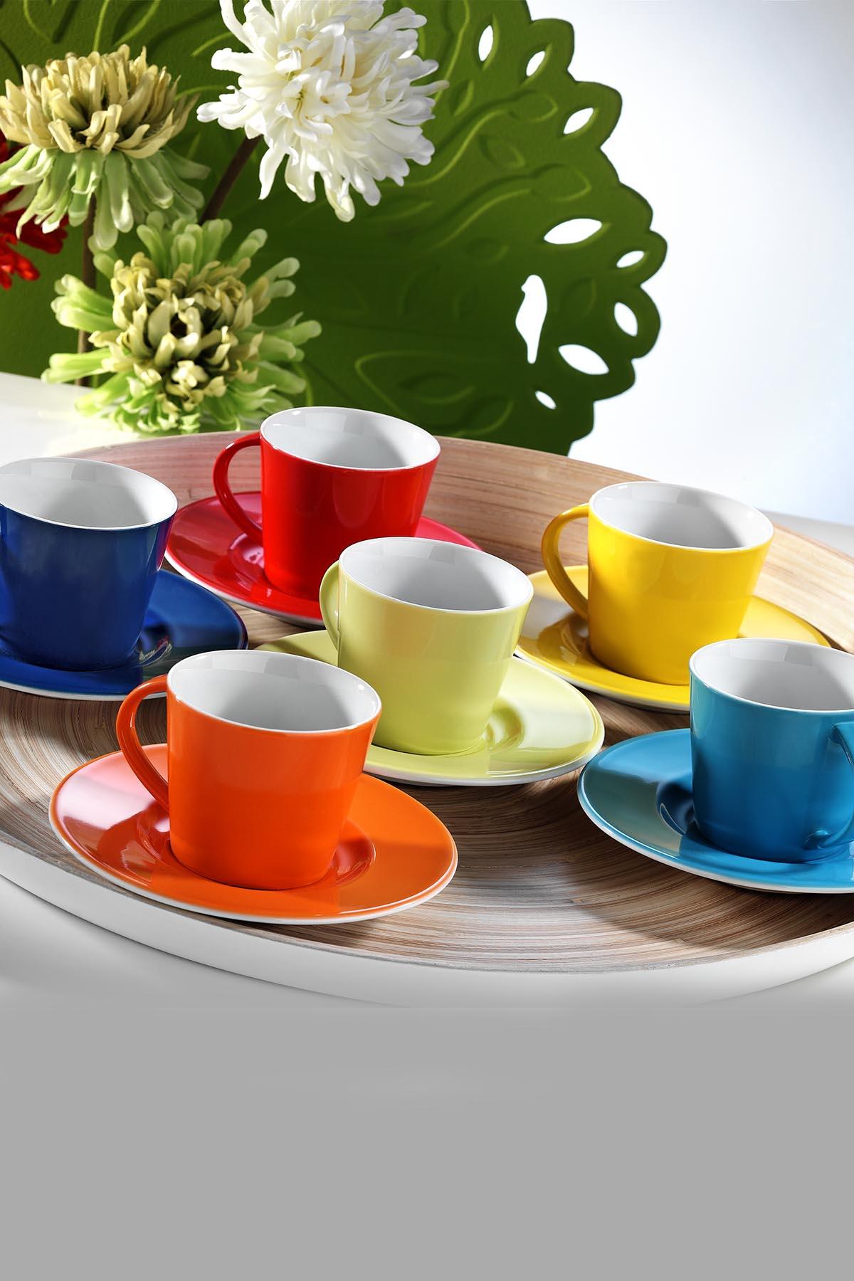 Kütahya Porselen Toledo Renkli Kahve Fincan Takımı