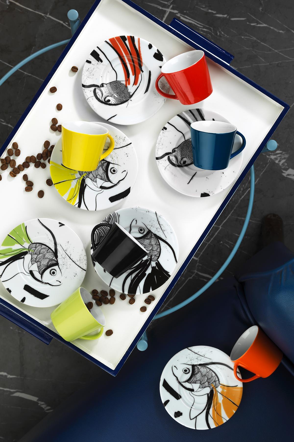 KÜTAHYA PORSELEN - Kütahya Porselen Toledo 898304 Desen Kahve Fincan Takımı