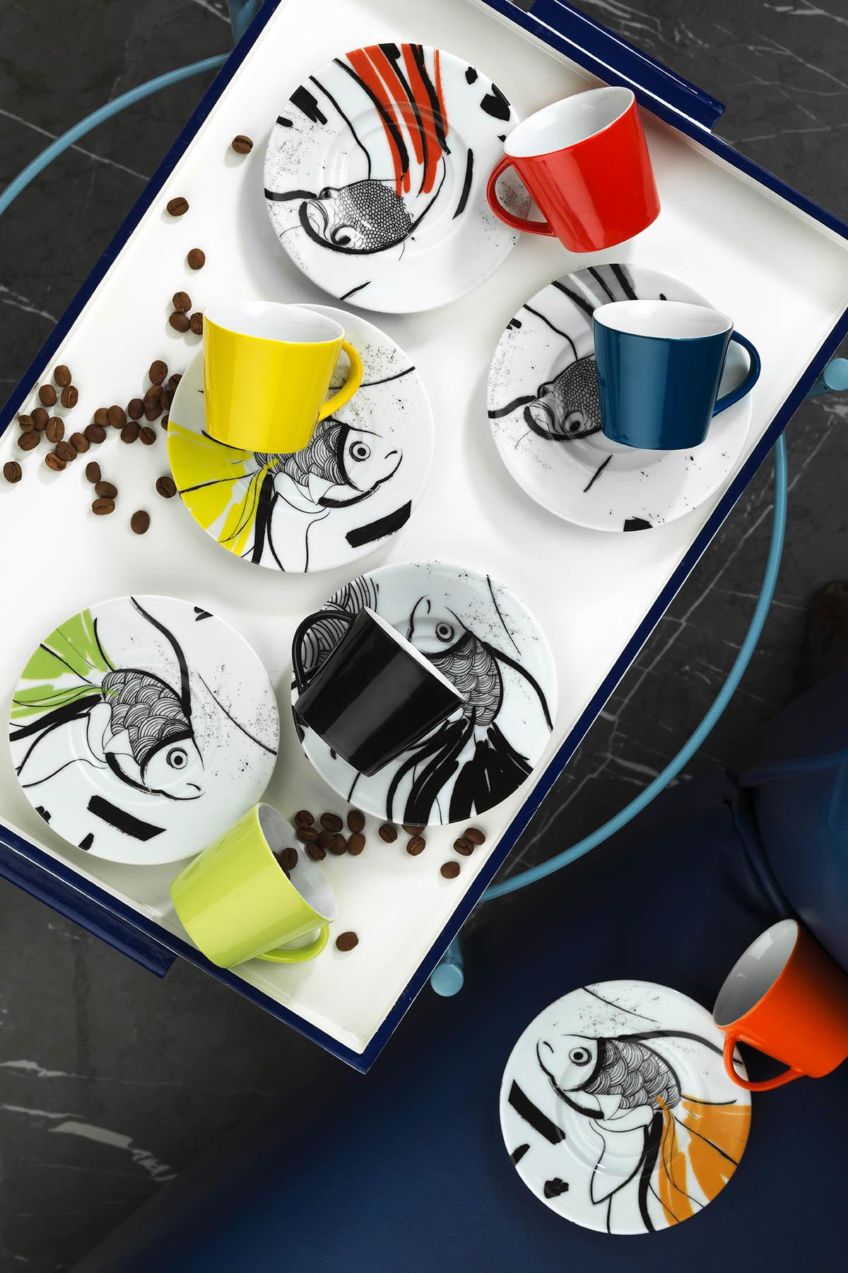 Kütahya Porselen Toledo 8304 Desen Kahve Fincan Takımı