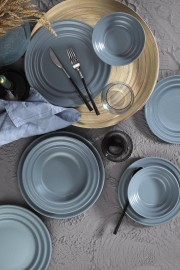 Kütahya Porselen New Tuvana 24 Parça Yemek Seti Gri - Thumbnail
