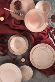 Kütahya Porselen New Tuvana 24 Parça Yemek Seti Pembe - Thumbnail