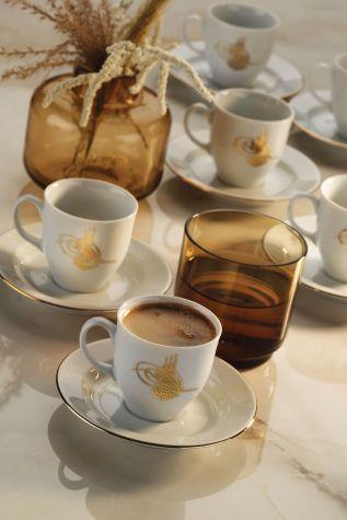 Kütahya Porselen - Kütahya Porselen Tuğralı Kahve Takımı Altın