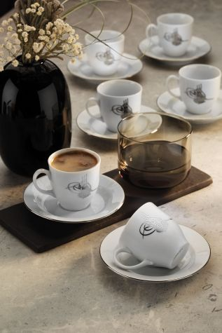 KÜTAHYA PORSELEN - Kütahya Porselen Tuğralı Kahve Takımı Platin
