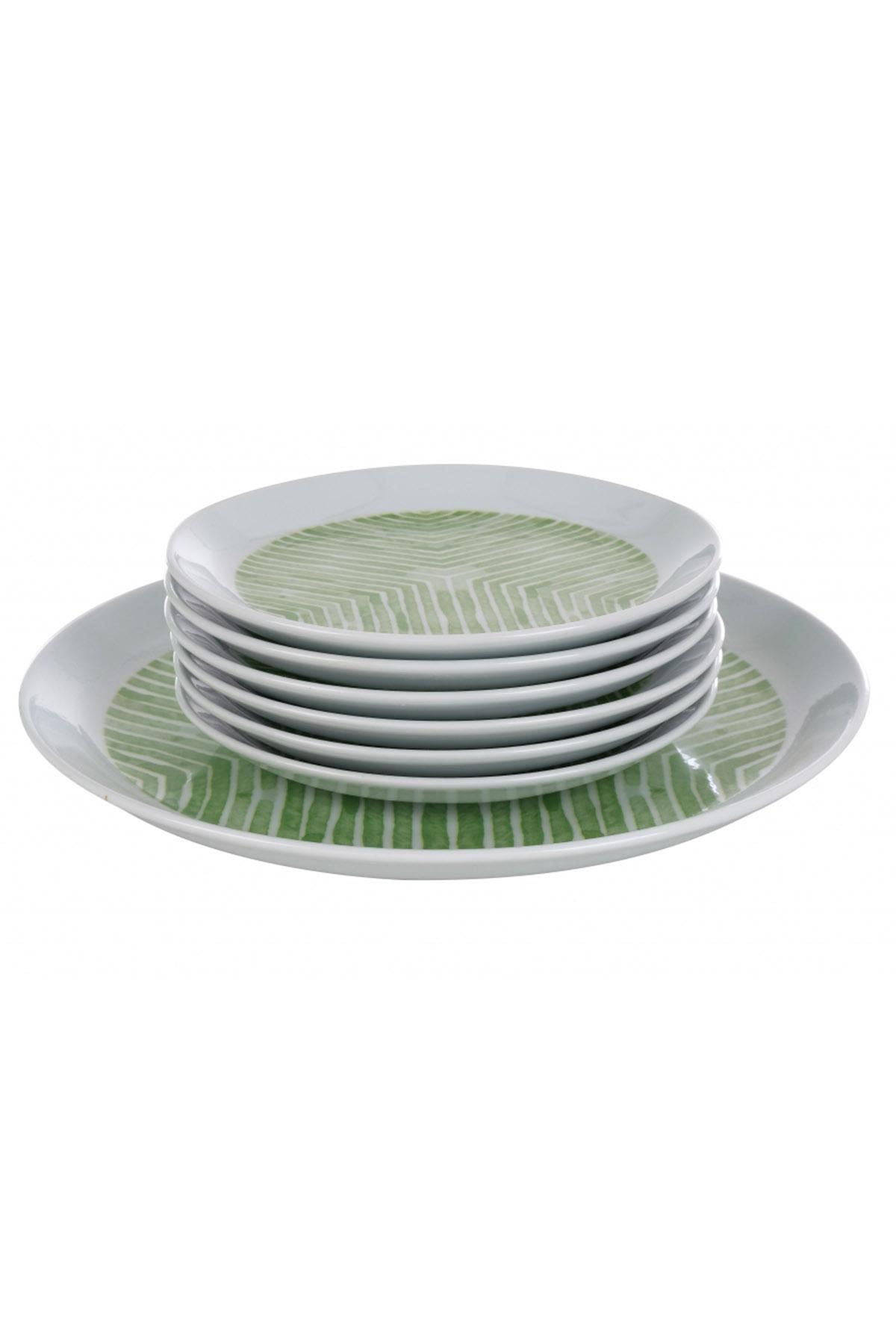 Kütahya Porselen Vista 7 Parça Yeşil Pasta Takımı