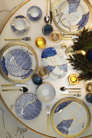 Kütahya Porselen - Kütahya Porselen Zeugma Kintsugi 28 Parça Yemek Takımı