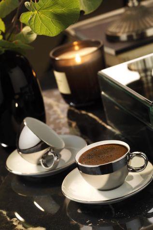 Kütahya Porselen - Kütahya Porselen Zeugma Kahve Takımı Platin Kaplama