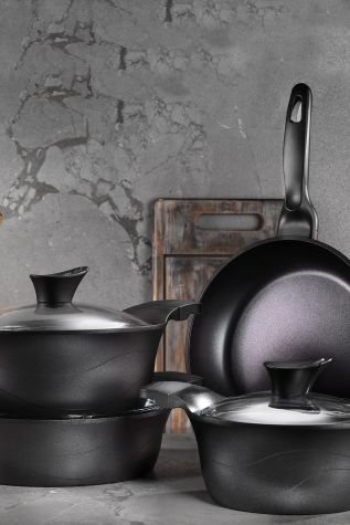 Kütahya Porselen - Lidya 7 Parça Döküm Tencere Seti Granit Siyah