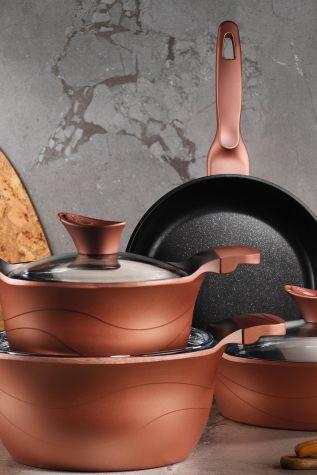 Kütahya Porselen - Lidya 7 Parça Tencere Seti Granit Efekt Rose Gold