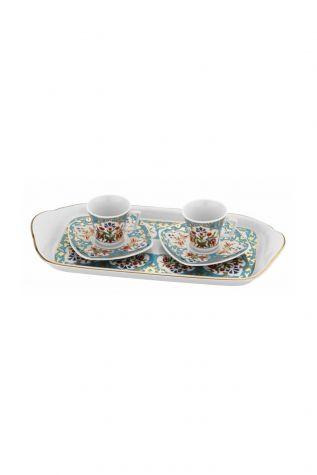 KÜTAHYA PORSELEN - Kütahya Porselen 3865 Desen Kahve Fincan Takımı Turkuaz