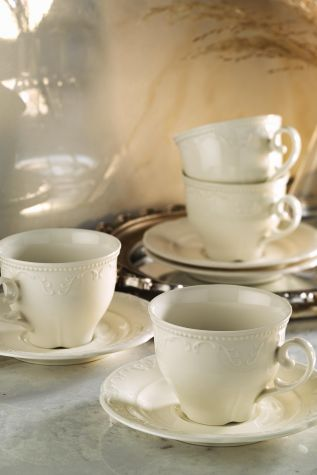 Kütahya Porselen - Kütahya Porselen Caprice Krem Çay Fincan Takımı