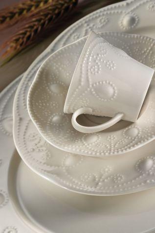 Kütahya Porselen - Kütahya Porselen Fulya Krem 24 Parça Yemek Seti