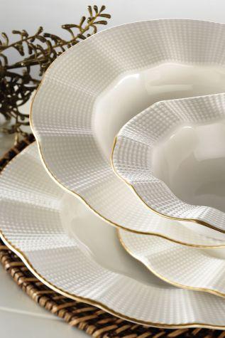 Kütahya Porselen - Kütahya Porselen Milena 24 Parça Krem Fileli Yemek Seti