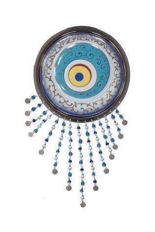 Kütahya Porselen - Nazar Boncuğu 20 cm Gümüş Çerçeve-Kobalt Renk