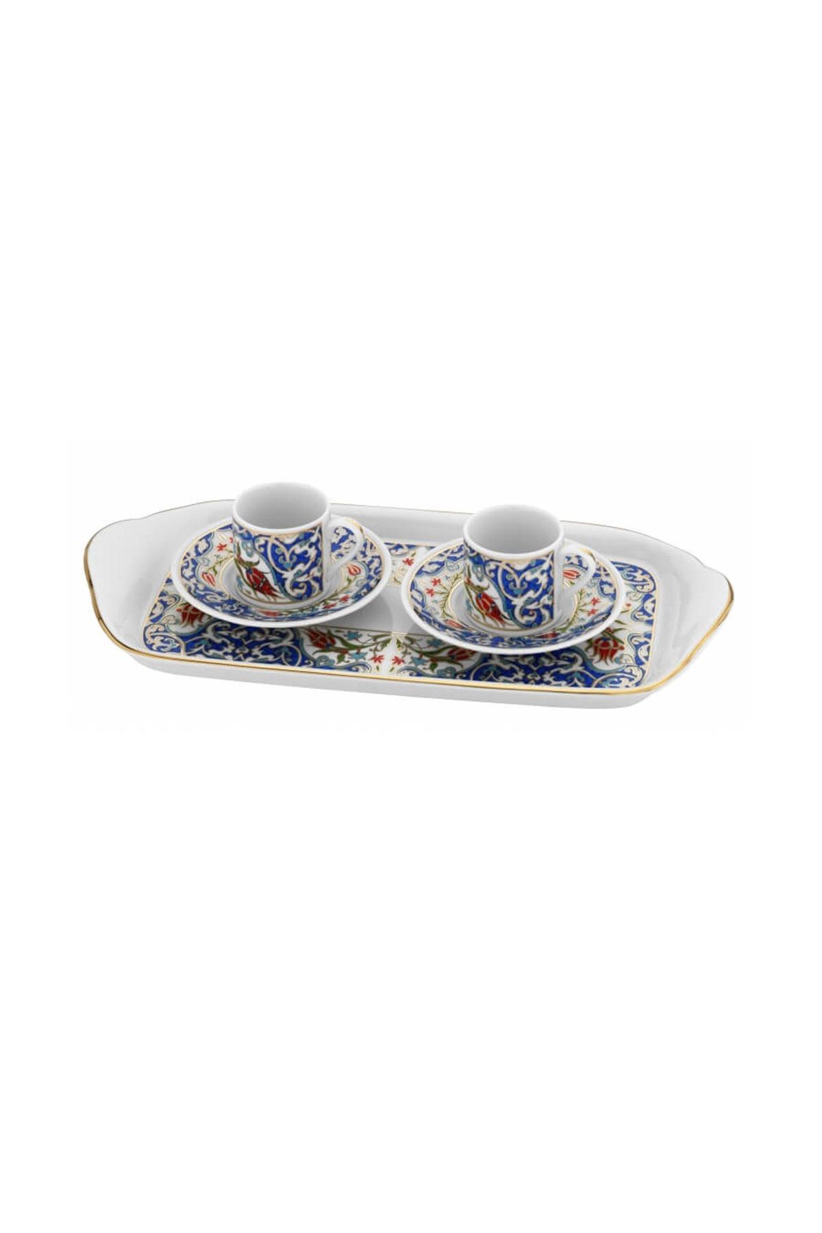KÜTAHYA PORSELEN - Rüya İki Kişilik Tepsili Kahve Takımı Dekor No:3862