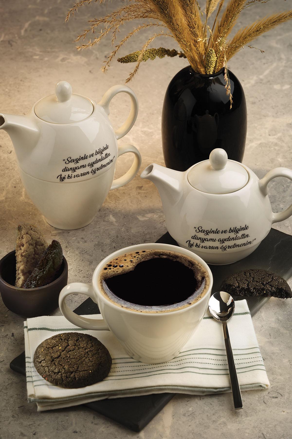 Kütahya Porselen - Sempre 3 Parça Demlikli Çay Seti Öğretmen Günü