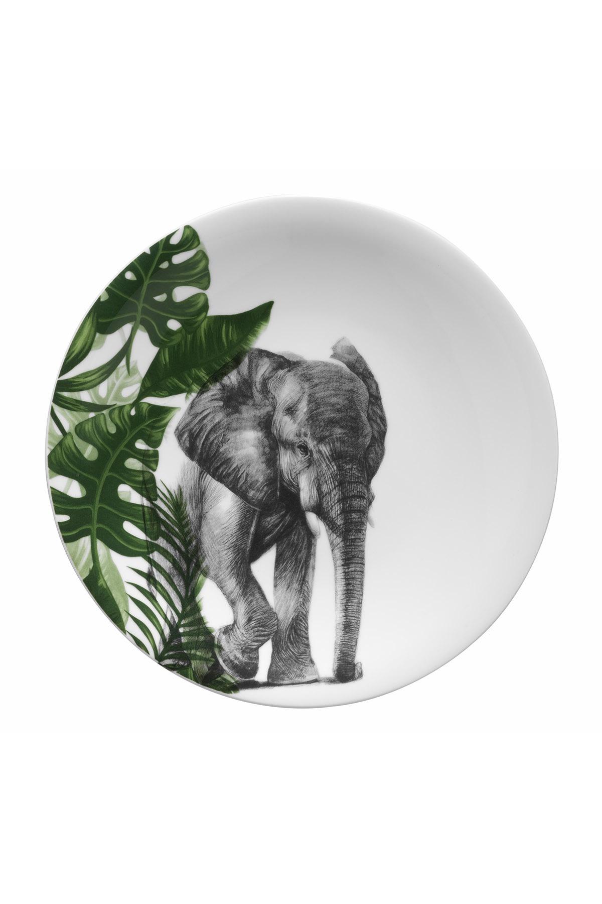 Kütahya Porselen - Kütahya Porselen Doğadakiler 27 cm Servis Tabağı Fil