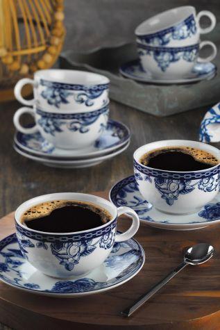 Kütahya Porselen - Kütahya Porselen Bleu Blanc Çay Fincan Takımı 939016